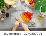 male hand preparing vegetarian... | Shutterstock . vector #1240507705
