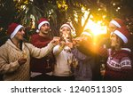 friends group with santa hats... | Shutterstock . vector #1240511305