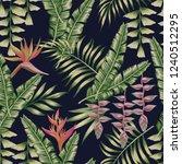 tropical jungle flowers bird of ... | Shutterstock .eps vector #1240512295