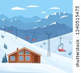 ski resort with chair lift ... | Shutterstock .eps vector #1240515475