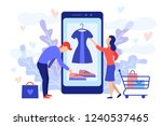 mobile shopping consept. a man... | Shutterstock .eps vector #1240537465