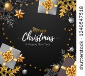 christmas poster with golden... | Shutterstock .eps vector #1240547518