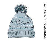 warm hat with pompon. color...