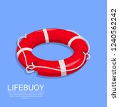 lifebuoy on the isolated... | Shutterstock .eps vector #1240562242