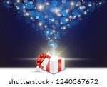 opened gift box with red bow... | Shutterstock .eps vector #1240567672