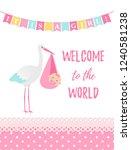 baby shower girl card. vector.... | Shutterstock .eps vector #1240581238