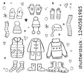 hand drawn set of winter... | Shutterstock .eps vector #1240581985