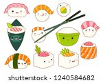 set of cute sushi and rolls... | Shutterstock .eps vector #1240584682
