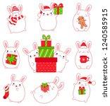 merry christmas. set of cute... | Shutterstock .eps vector #1240585915