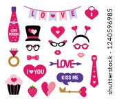 valentine's day photo booth... | Shutterstock .eps vector #1240596985