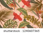 floral tropical vector seamless ... | Shutterstock .eps vector #1240607365