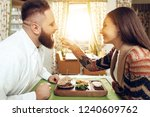 happy man and woman are having...   Shutterstock . vector #1240609762