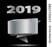 date of new year 2019 and metal ... | Shutterstock .eps vector #1240611088