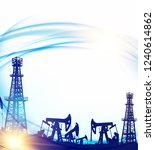 oil field with derricks and... | Shutterstock .eps vector #1240614862