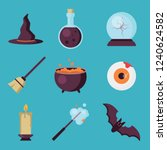 set of halloween flat icons... | Shutterstock .eps vector #1240624582
