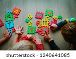 kids learning numbers  counting ... | Shutterstock . vector #1240641085