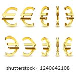 gold sign is a euro on white... | Shutterstock .eps vector #1240642108
