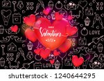 valentine's day background with ... | Shutterstock .eps vector #1240644295
