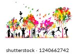 silhouettes of family and... | Shutterstock .eps vector #1240662742