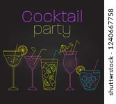 cocktail party template. simple ... | Shutterstock .eps vector #1240667758