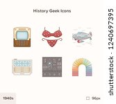 vintage history icons 1940s.... | Shutterstock .eps vector #1240697395