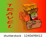 suitcases and travel | Shutterstock .eps vector #1240698412