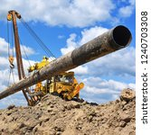 pipe layer on the repair of the ... | Shutterstock . vector #1240703308