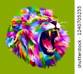 colorful angry lion head | Shutterstock .eps vector #1240705255