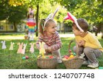cute little children hunting... | Shutterstock . vector #1240707748