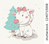lovely cute cheerful piggy... | Shutterstock .eps vector #1240715008