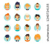 people avatars set. characters. ... | Shutterstock .eps vector #1240724155