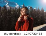 laughing girl with closed eyes... | Shutterstock . vector #1240733485
