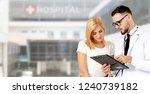 doctor talking to patient in...   Shutterstock . vector #1240739182