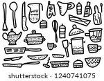 set of vector sketch kitchen... | Shutterstock .eps vector #1240741075