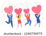 concept of love. mini people... | Shutterstock .eps vector #1240750975