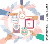 hands turn off alarms. colorful ... | Shutterstock . vector #1240762255