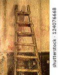 dirty old staircase in the room ... | Shutterstock . vector #124076668
