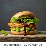 burger with chicken meat and...   Shutterstock . vector #1240768405