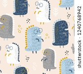 childish seamless pattern with... | Shutterstock .eps vector #1240768942