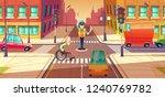 illustration of crossing guard ... | Shutterstock . vector #1240769782
