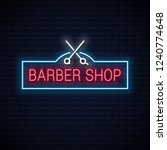 barber shop neon sign with... | Shutterstock .eps vector #1240774648