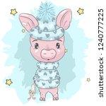 cute baby piggy cartoon hand... | Shutterstock .eps vector #1240777225
