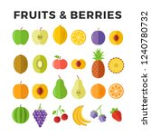 fruits and berries flat icons.... | Shutterstock .eps vector #1240780732