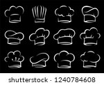 white hand drawn isolated chef... | Shutterstock . vector #1240784608