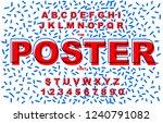 80's retro alphabet font.... | Shutterstock .eps vector #1240791082