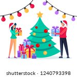man and woman characters giving ... | Shutterstock .eps vector #1240793398
