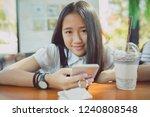 close up face asian teenager... | Shutterstock . vector #1240808548