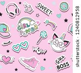 fashion patch badges with cat... | Shutterstock .eps vector #1240812958