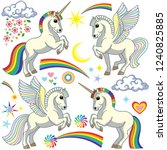 cartoon unicorn and pegasus set.... | Shutterstock .eps vector #1240825885