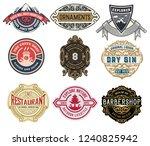 set of 9 logos or badges for... | Shutterstock .eps vector #1240825942